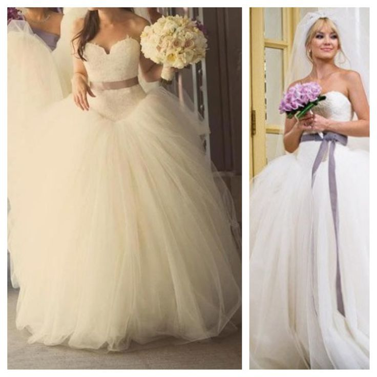 Vera Wang Wedding dress as worn by Kate Hudson in Bride Wars. A 'poofy' dress is better for either women with broad shoulders to balance out the bottom or a woman with little shape. The bow around the middle helps to find the waist