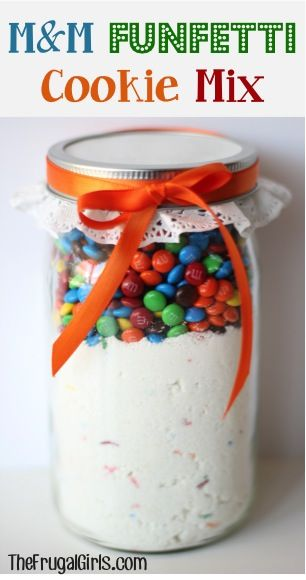 Funfetti M&M Cookie Mix in a Jar! ~ from TheFrugalGirls.com ~ this Mason Jar gift will come together so quickly, and makes such yummy cookies! #gifts #masonjars