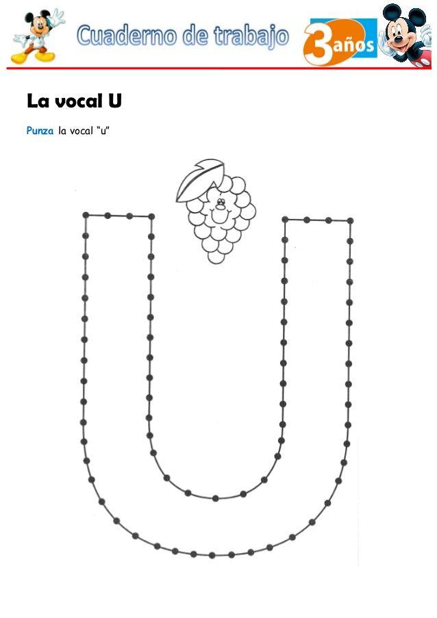La Vocal U Punza La Vocal U Tarea De Preescolar Vocal E Libros De Preescolar
