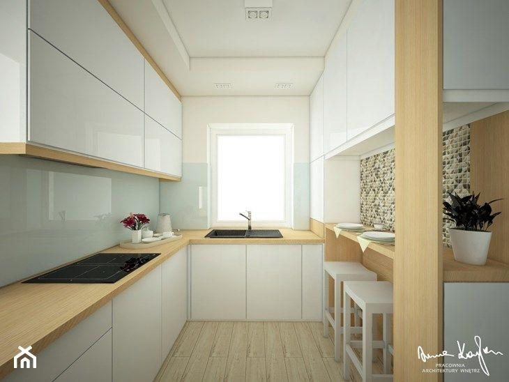 Projekt Strefy Dziennej W Domu Jednorodzinnym Srednia Zamknieta Waska Kuchnia W Ksztalcie Litery L W Aneksie Z Oknem Zdjec Home Decor Kitchen Cabinets Home
