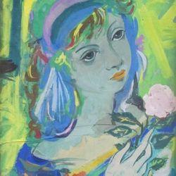 """Roger BEZOMBES (1913-1994). Portrait de jeune femme à la rose. Gouache sur isorel signée en bas à droite, intitulé """"le printemps"""" au dos. 34 x 25 cm. (Trois craquelures transversales)."""