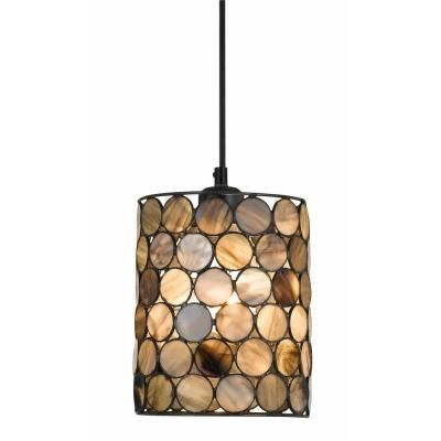 cal lighting 1light ceiling mount smoked tiffany pendant with 6 ft cord