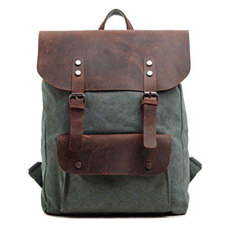 DRF Zaino Casual porta laptop/pc tablet in Tela e Pelle Vintage Altezza 45cm SKU:BG-40 (Verde)