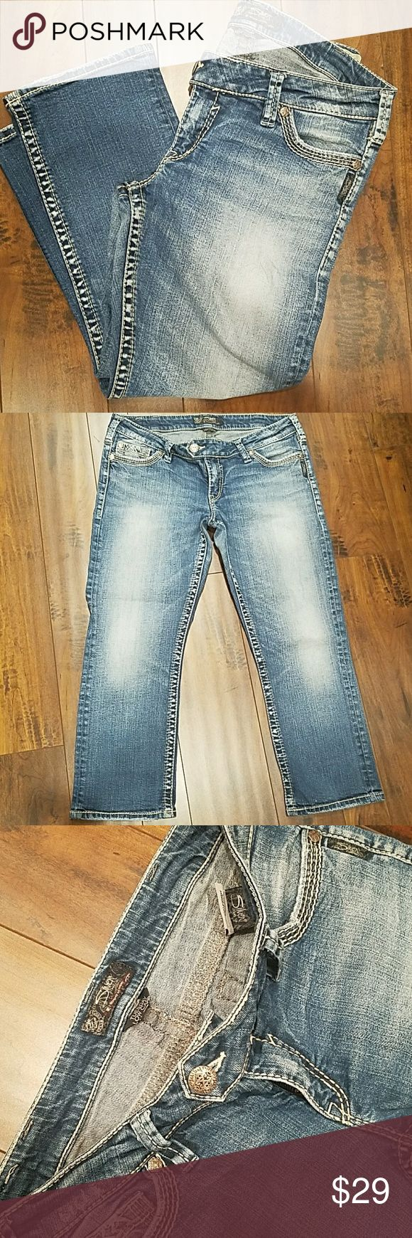 "Silver Jeans ""TUESDAY"" Capri Women's Silver Jeans TUESDAY Capri. Low-rise, five pocket design, tan detail stitching  and a zipper fly. NEVER BEEN IN DRYER!  Size: 33 Inseam: 24.5"" approx.  EXCELLENT CONDITION!   🚭SMOKE FREE HOME Silver Jeans Pants Capris"