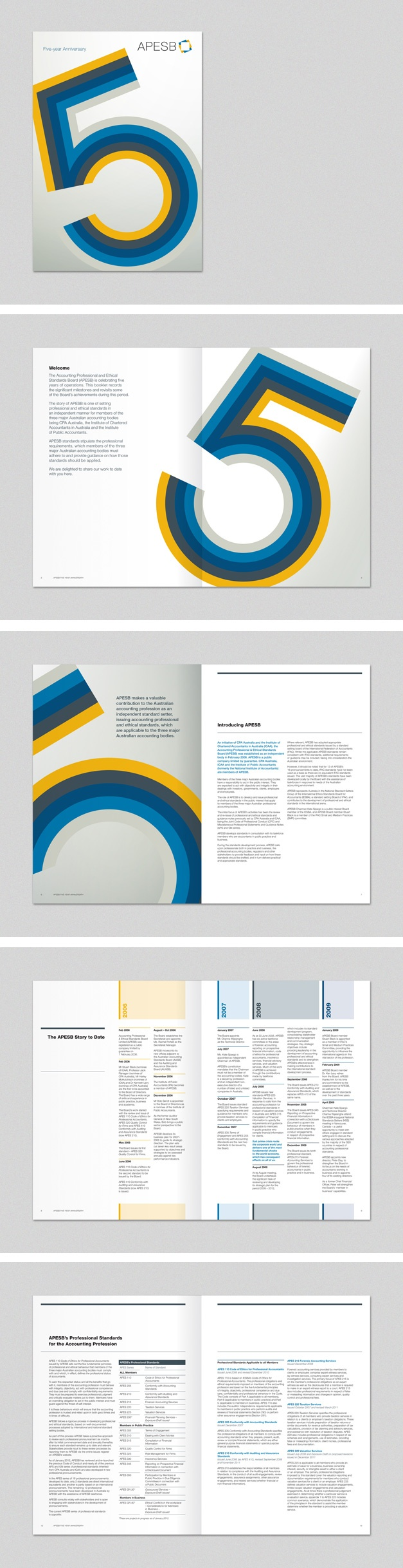 APESB 5 year anniversary brochure. www.fenton.com.au #communication #PR #branding #graphicdesign