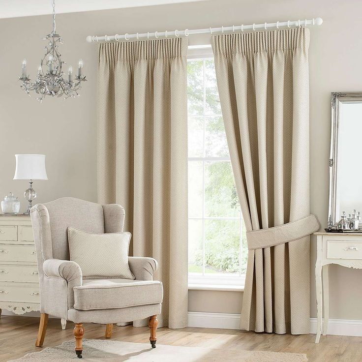 Natural Jasmine Lined Pencil Pleat Curtains | Dunelm