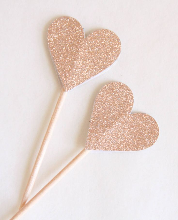 Rose Gold Heart Toppers, Rose Gold Bridal Shower, 30th for Her, Engagement Party, Wedding Toppers, Valentine Treats – Valentine's Day Ideas- Group Board