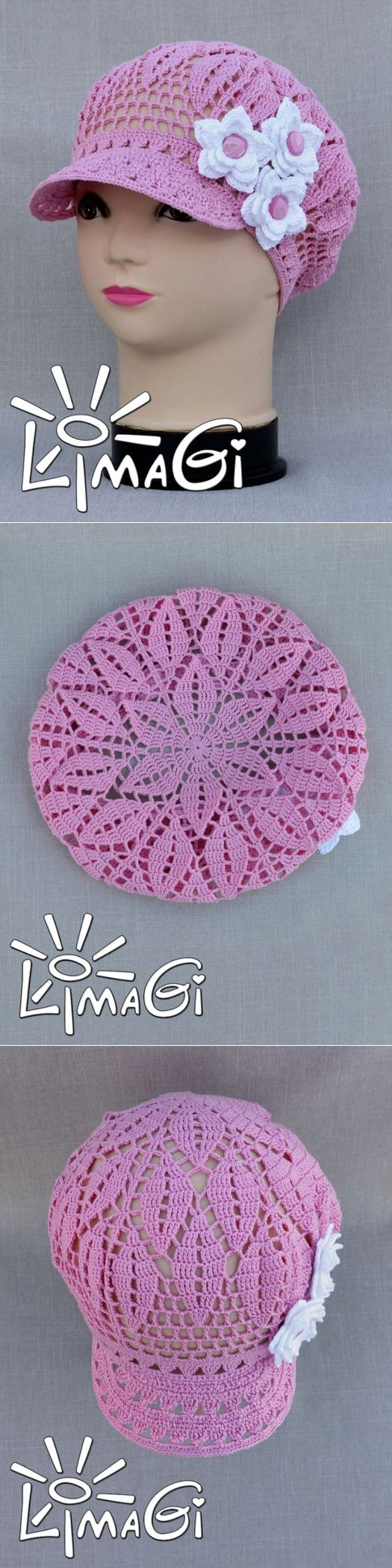 best boina e boné em crochê images on Pinterest Hat crochet