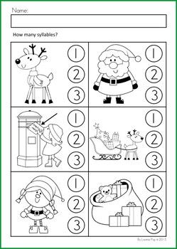 Math & Literacy Worksheets & Activities - Christmas {98 pages} A page form the unit: syllables