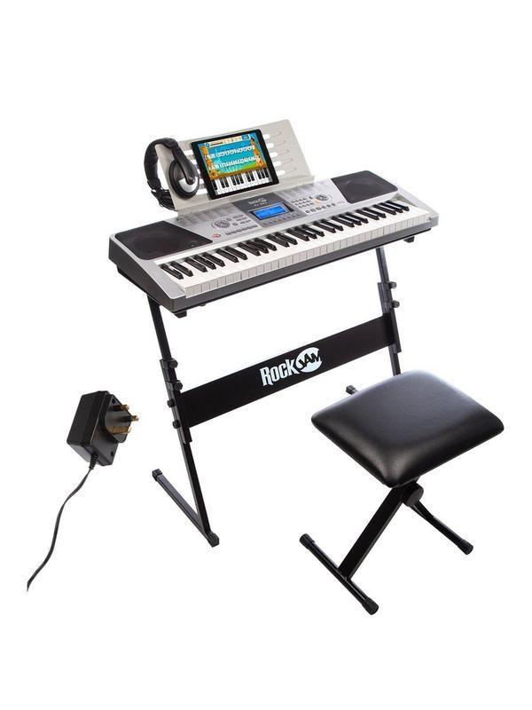 The RockJam RJ661 Keyboard Super Kit is the complete playing package This great value kit includes a 61 key full size keyboard so you'll be playing all your favourite tunes in no time. Place the keyboard on the supplied adjustable stand and take a seat on the comfortable and durable stool then get set to tickle those ivories in style. The high quality headphones put you close to the music as you play and learn. A perfect all in one package for beginners, established players and music in...