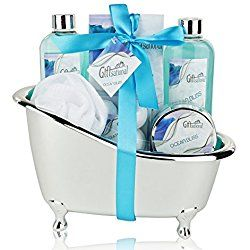 Spa Gift Basket with Refreshing Ocean Bliss Fragrance - Best Valentine's Day - Bath Gift Set Includes Shower Gel, Bubble Bath, Bath Salts, Bath Bombs and More!