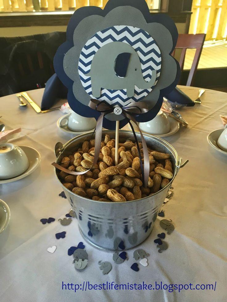 Elephant Themed Baby Shower- Peanut, chevron, navy blue, grey centerpiece, tin bucket