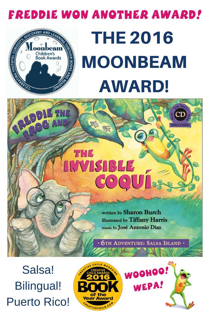 THE 2016 MOONBEAM SILVER AWARD! WEPA!  Kudos once again to the amazing creative Freddie Team who made this incredible storybook with lift-the-flap leaves and audio CD of authentic salsa music by Jose Antonio Diaz, recorded by Diaz Music Institute, character voices by Jonathan White, and of course, the artwork of the talented Tiffany Harris.   Get your copy! Purchase from your favorite music store or click!