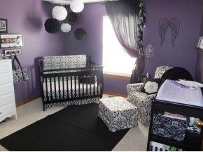 Purple and black nursery  lighter purple and zebra instead of solid black:)