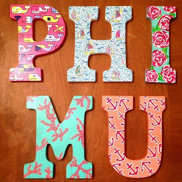 craft | sorority sugar-- I like the individuality of each letter!