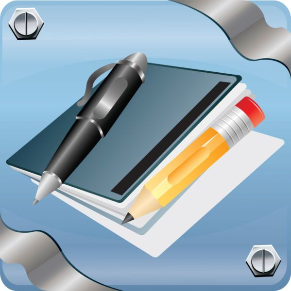 Vector image of a notebook with pen and pencil. - Stock photo