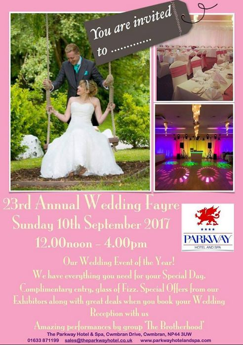 The Annual Wedding fayre at the Parkway Hotel Spa 10th September 2017 from Midday.    #SouthWales #Cardiff #NewportWales #Newport #Cwmbran #Caerleon #Abergavenney #USK #Chepstow #Torfaen #Gwent #Bristol #Gloucs #Worcs