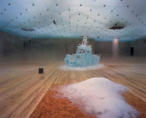 L'expedition scitillante, Act 1, Untitled (ice boat, ice, and offshore radio) by Pierre Huyghe, 2002