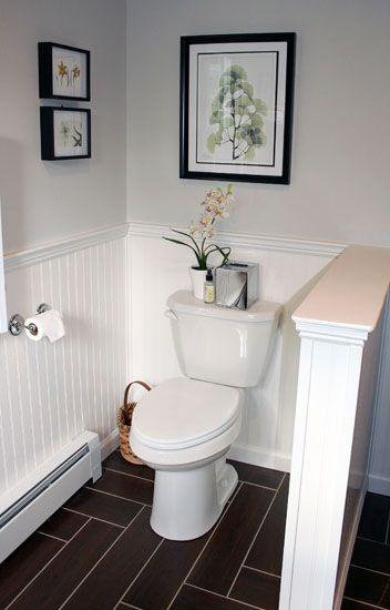 At Home:  Master Bathroom Details - A good idea for the toilet area!