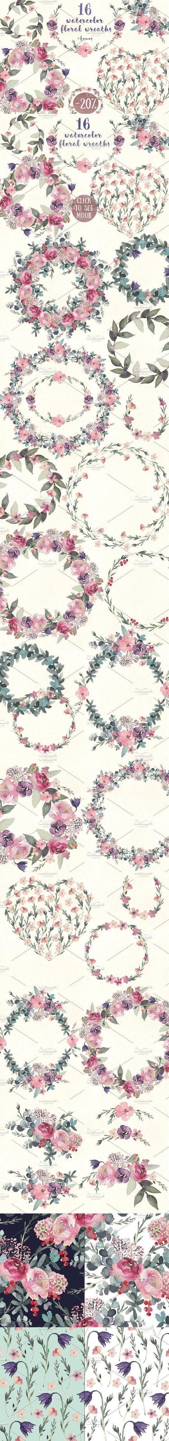 Watercolor floral wreaths pack. Watercolor Flowers. $15.00