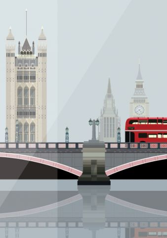 Lambeth Bridge and the Towers of Westminster - vector graphic - illustrated by Emma Sivell / SIVELLINK