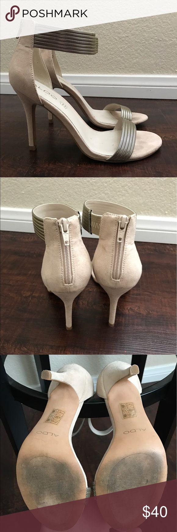 ALDO heels with gold metal detailing Beige heel with gold metal details. Worn once for a wedding. Aldo Shoes Heels