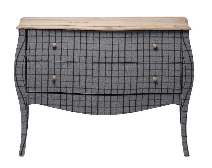 Commode en pin recyclé et tissu à carreaux gris/noir L 122 cm Scotland