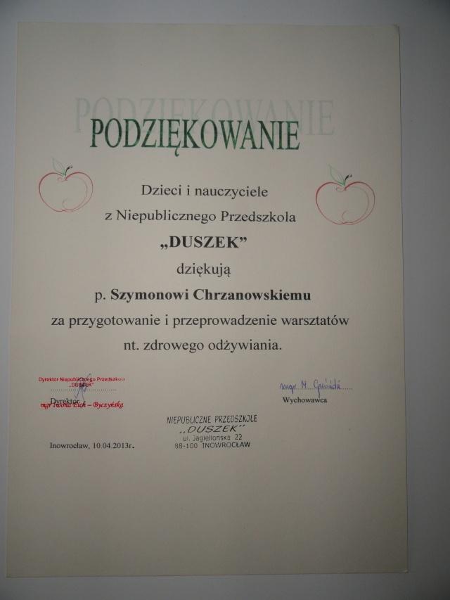 """Podziękowania od przedszkolaków z """"Duszka"""" za warsztaty żywieniowe"""