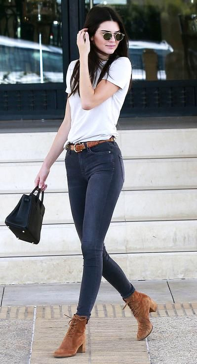 Kendall Jenner | booties with heels + skinny jeans + solid white t-shirt, tucked in | hair: down & straight