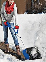 $139.00  Electric Snow Shovel - Save Your Back With This Power Shovel | Solutions This lightweight electric snow shovel clears a walkway, deck or driveway within a fraction of the time.  - Just plug it in and it's ready to go  - Clears a 13-inch path with every pass  - Tosses snow up to 20 feet  - No dangerous gas or fuel additives  - Use with your outdoor extension cord