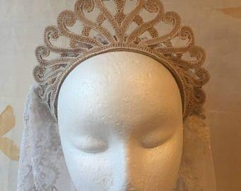 jaren 1930 40s vintage pearl bruids tiara. Bruiloft kroon of avond zendspoel