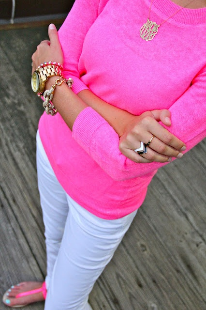 Love the sweater, white jeans,jewelry, but would not wear pink sandals, probably just gold sandals