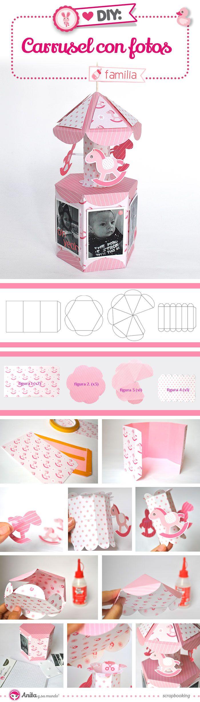 DIY: cómo hacer un mini álbum para bebé de papel con formato carrusel…