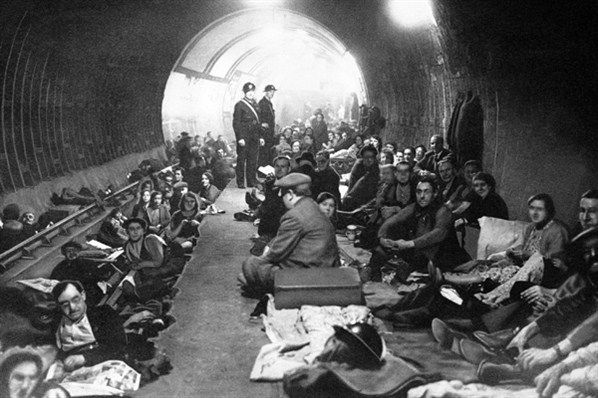 Londoners sheltering in the Tube during the Blitz, 1940s