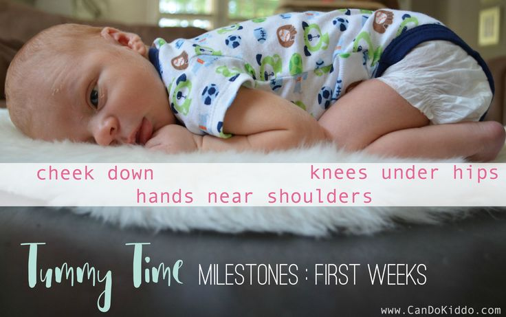 Tummy Time in Newborns - milestones every new parent should know. Great tips for new parents about what to expect at differerent ages and why Tummy Time is so important! CanDoKiddo.com