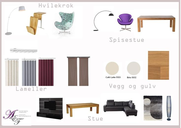 Moodboard, stue og spisestue