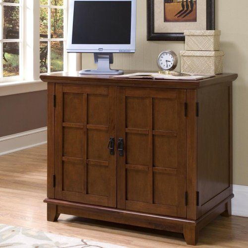 Home Style 5180-19 Arts and Crafts Compact Office Cabinet, Cottage Oak Finish Arts and crafts compact office cabinet. Made of hardwood solid and engineered wood. Measures 37-3/4-inch width by 23-3/4-inch depth by 32-1/4-inch height. Comes with a warm cottage oak finish with black finished hardware.