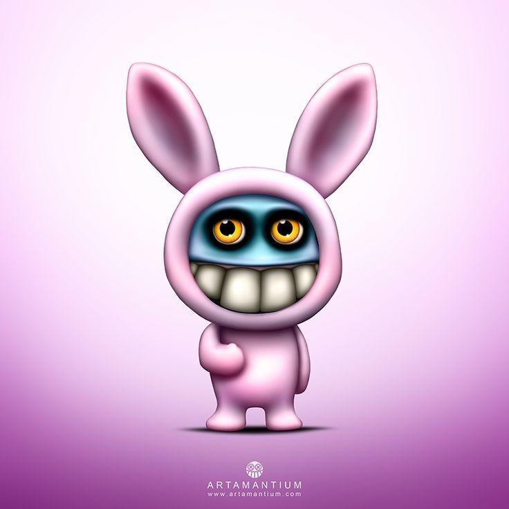 Yellow Eyes Big Teeth in Pink Bunny Suit