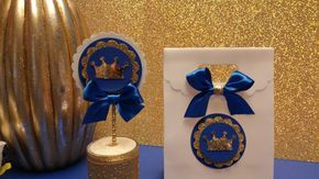 Royal Blue gold party ,Prince Party Favor,CrownTreat Bags,Baby Boy Shower,Prince Baby Shower,Royalty Baby Shower (This Price Is For 10 Bags)