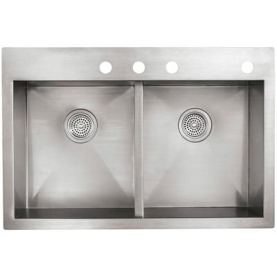2 sinks in kitchen kohler vault drop in dualmount stainless steel 33 in 4 3820