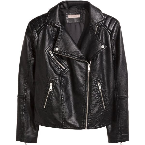 H&M+ Biker jacket ($61) ❤ liked on Polyvore featuring outerwear, jackets, leather jacket, plus size, black, motorcycle jacket, moto jacket, quilted jacket, black moto jacket and leather moto jacket