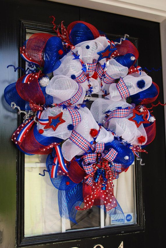 4th of July Deco Mesh Wreath by SassyDivaBoutique on Etsy, $105.00