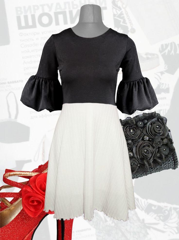 50$ Красивое платье большого размера с вязаной юбкой 1/2 солнце клеш и манжетами тюльпан Артикул 890,р50-64