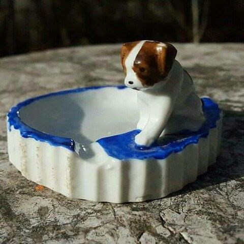 Adorable Vintage Dog Ashtray or Trinket dish, just added to the shop!
