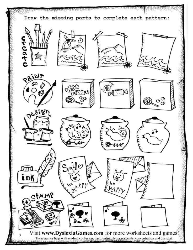 These Art and Logic Games are designed to help children with Dyslexia, ADHD and Autism to overcome reading confusion, messy handwriting, letter reversals, and problems with attention span. These pages are best for ages 8 to adult. If your child enjoys these worksheets visit www.DyslexiaGames.com for more!