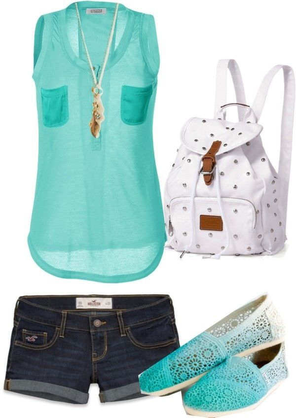 I like the shirt and necklace, but I would wear capri's or skinny jeans with sandals or flip flops