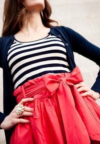 red,navy,and white: Colors Trends, Colors Combos, Polka Dots, Bowskirt, Navy Stripes, Outfit, Bows Skirts, Pink Bows, Big Bows