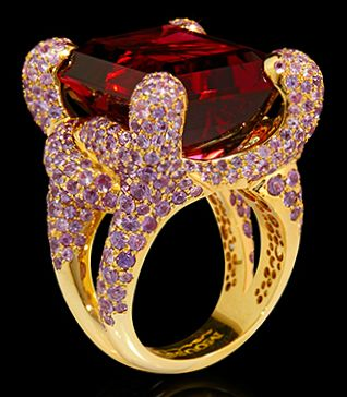 "Mousson Atelier New Age """"Iguana"""" Gold Tourmaline & Sapphire Ring R0050-0/7"