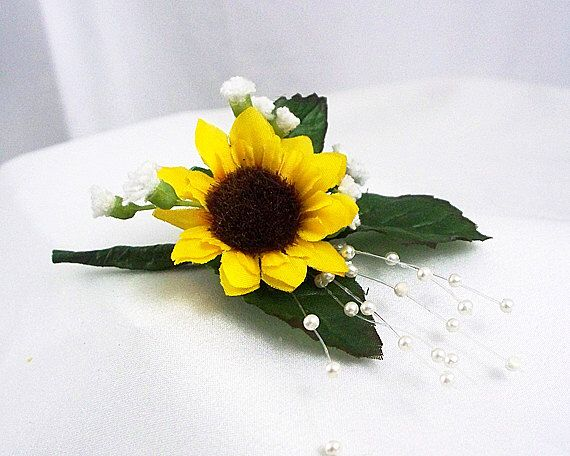 Sunflower corsage, Yellow sunflower corsage, Sunflower boutonniere, Yellow boutonnieres, Yellow wedding, Yellow prom boutonniere by artsandcreations on Etsy https://www.etsy.com/listing/294587529/sunflower-corsage-yellow-sunflower