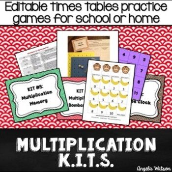 Improve your class' math skills in the classroom or at home! These EDITABLE multiplication games can be used as math centers, in-class math partner games, or for FUN math fact practice homework assignments!